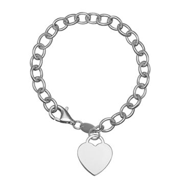 Pure Sterling Silver Rolo Chain Heart Charm Bracelet