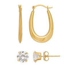 Everlasting Gold 14k Gold Cubic Zirconia Stud & U Hoop Earring Set