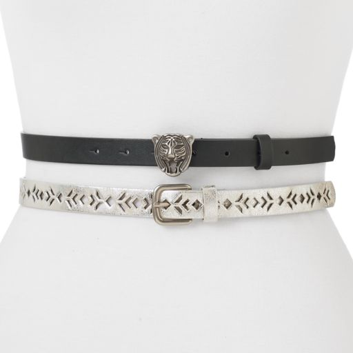 Women's Mudd® Geometric Perforated 2-for-1 Tiger Buckle Belt Set