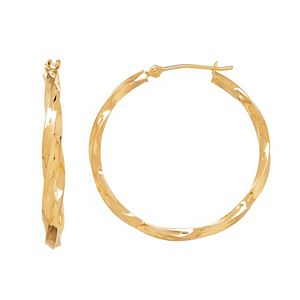 Everlasting Gold 14k Gold Twist Hoop Earrings