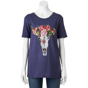 Juniors' Floral Cow Skull Graphic Tee