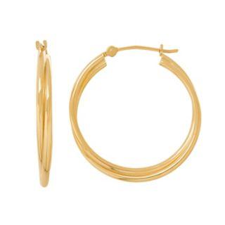Everlasting Gold 14k Gold Tube Double Hoop Earrings