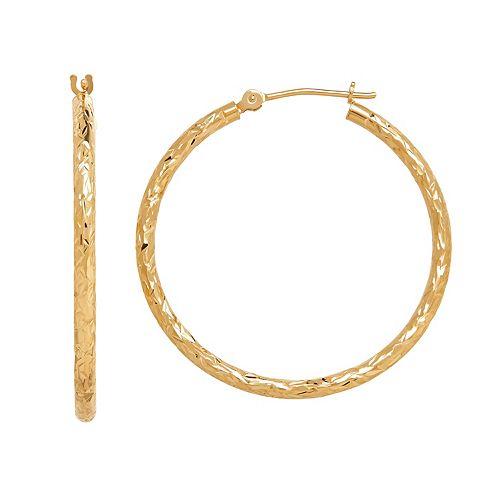 Everlasting Gold 14k Gold Textured Tube Hoop Earrings