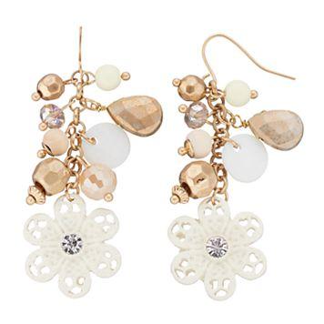 White Flower Beaded Cluster Nickel Free Drop Earrings