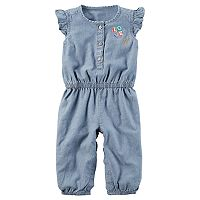 Baby Girl Carter's Flutter-Sleeved Chambray Jumpsuit