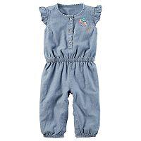 Baby Girl Carter's Flutter-Sleeved Chambray Jumpsuit