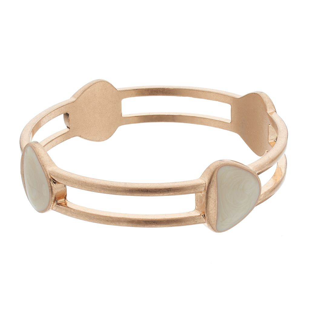 Marbled Triangular Double Row Bangle Bracelet