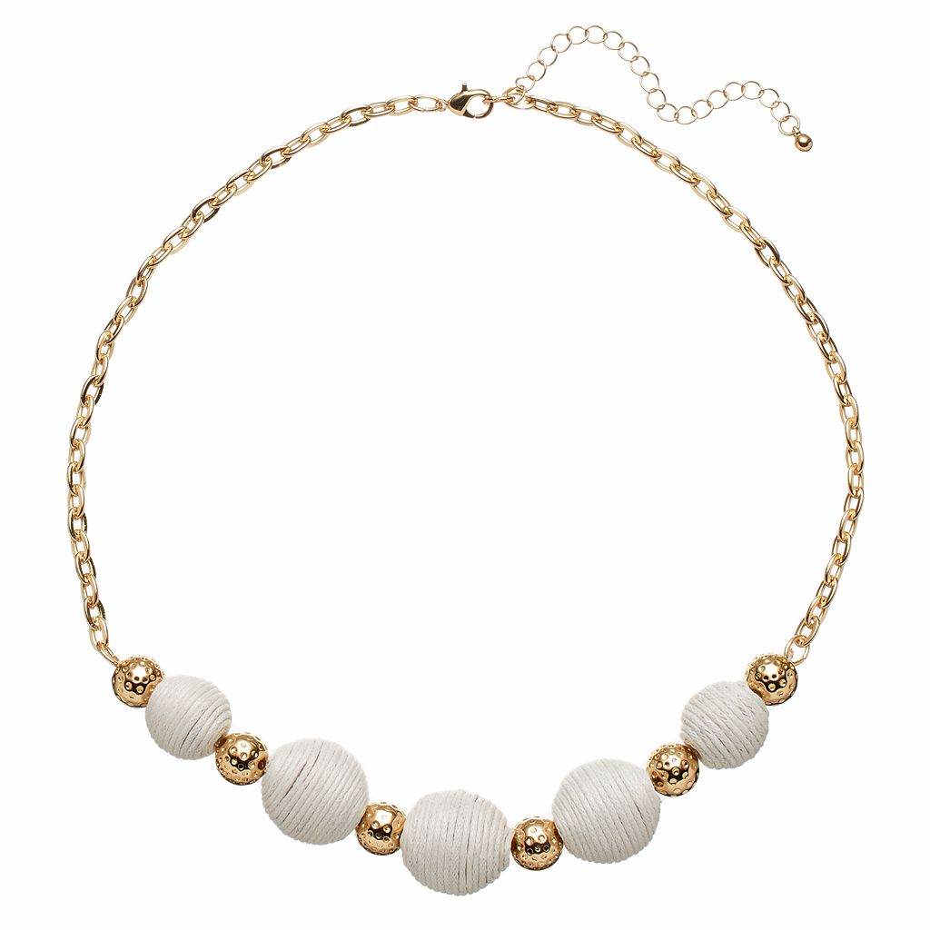 White Thread Wrapped Bead Necklace