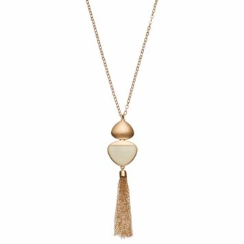 Brown Triangular Tassel Pendant Necklace