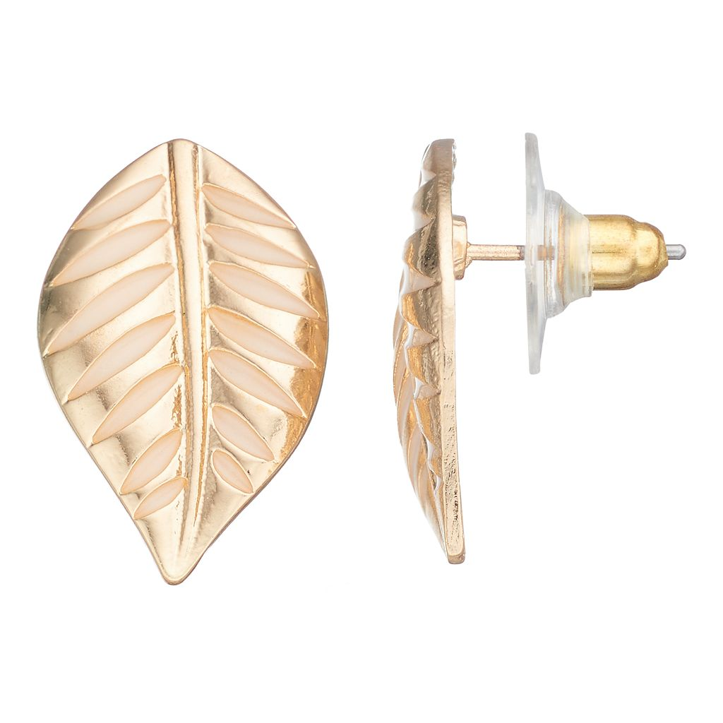 Textured Leaf Nickel Free Drop Earrings