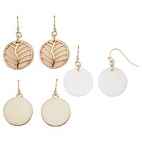 Leaf Disc Nickel Free Drop Earring Set