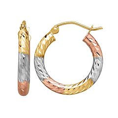 Everlasting Gold Tri Tone 14k Gold Textured Hoop Earrings