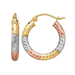 Everlasting Gold Tri Tone 14k Gold Textured Hoop Earrings