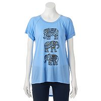 Juniors' Stacked Elephants High-Low Graphic Tee
