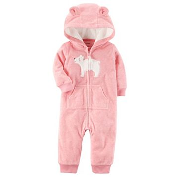 Baby Girl Carter's Bear Hooded Microfleece Coverall