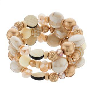Brown Beaded Stretch Bracelet Set