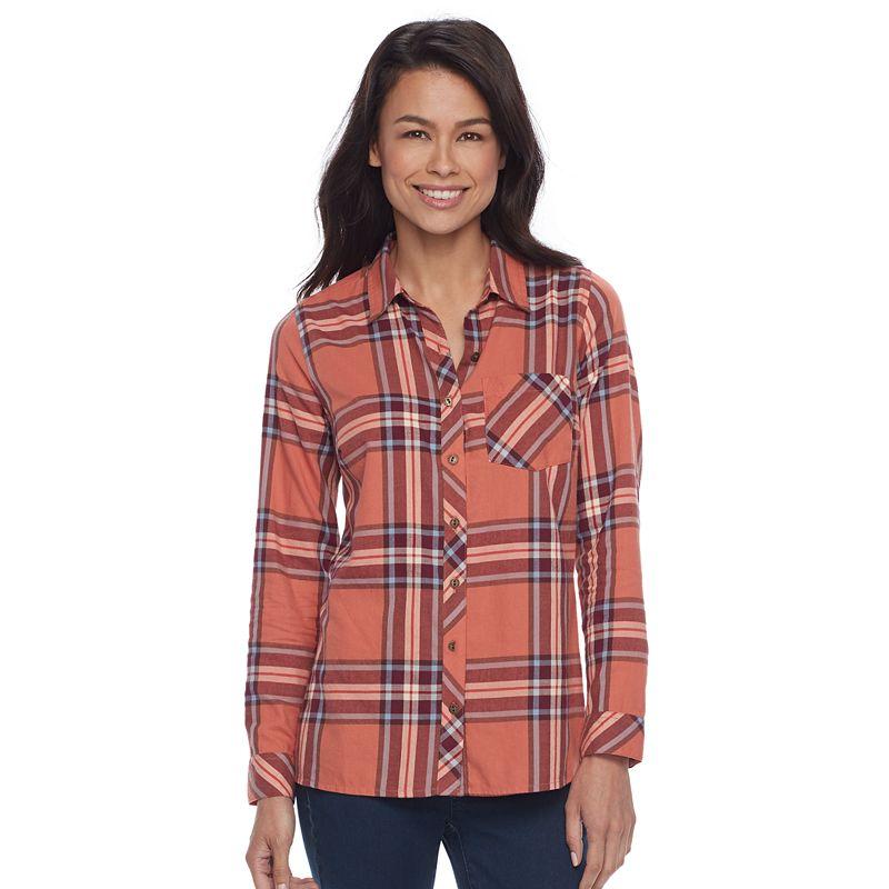 71fc04f4 Petite SONOMA Goods for Life™ Essential Plaid Flannel Shirt (Med Orange)