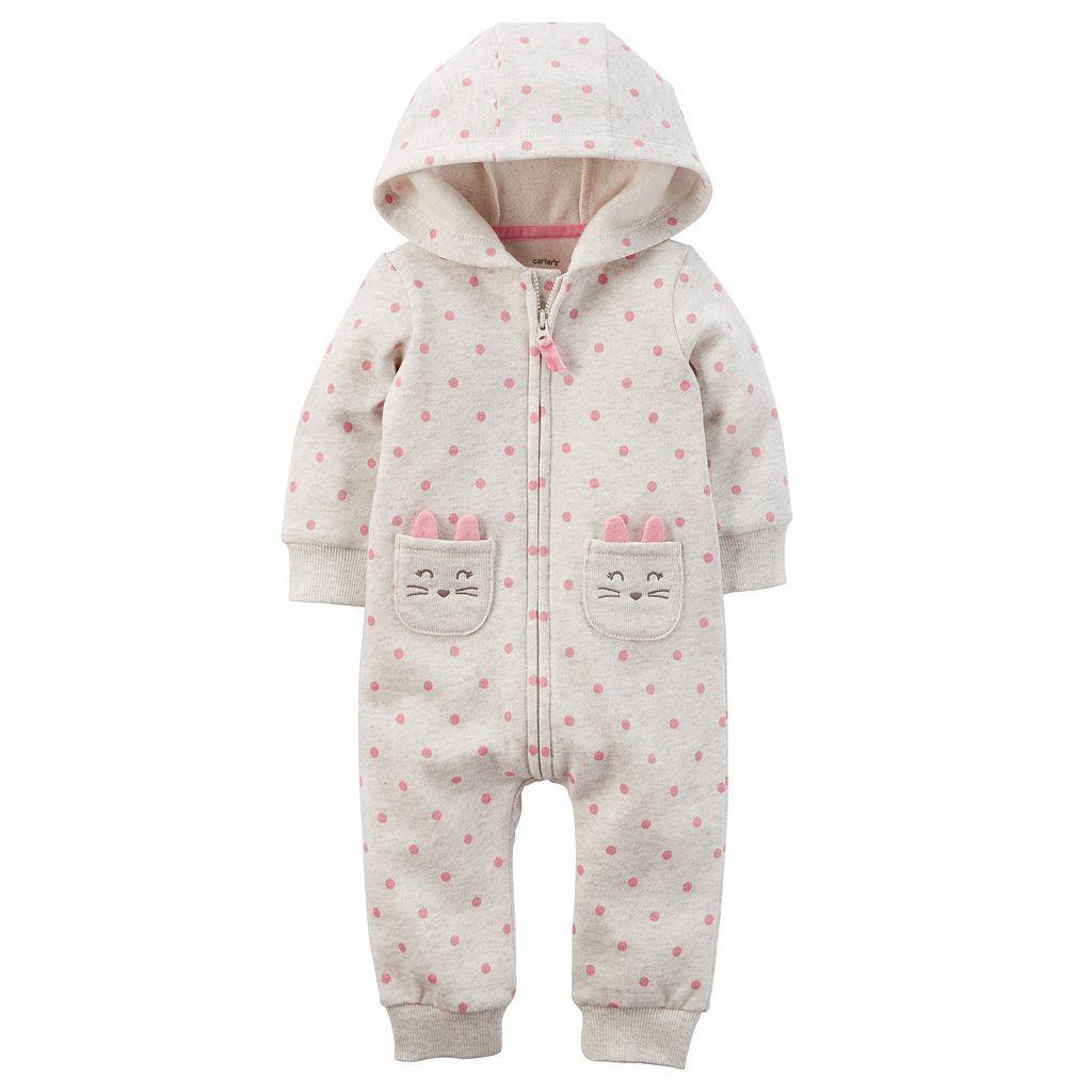 Baby Girl Carter's Hooded Polka-Dot Fleece-Lined Coverall