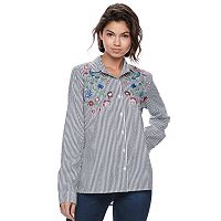 Juniors' SO® Floral Embroidered Striped Shirt
