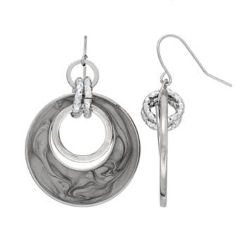 Gray Swirl Circle Link Nickel Free Drop Earrings