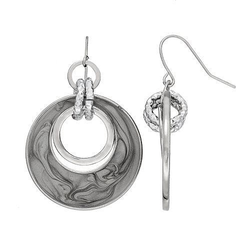 Gray Swirl Circle Link Nickel Free Drop Earrings
