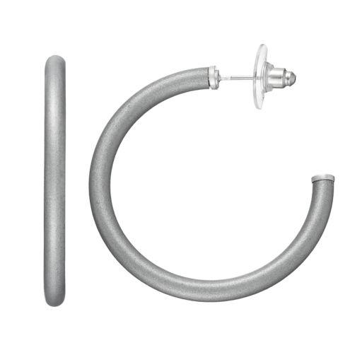 Gray Tube Nickel Free Hoop Earrings