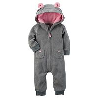 Baby Girl Carter's Mouse Hooded Microfleece Coverall