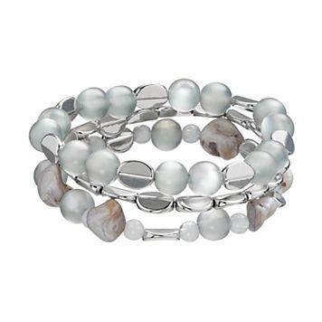 Disc & Bead Stretch Bracelet Set