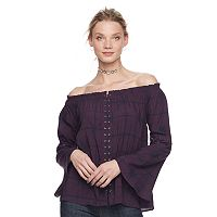 Women's Rock & Republic® Lace Up Off-the-Shoulder Top