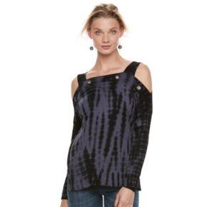 Women's Rock & Republic® Cold-Shoulder Grommet Sweater