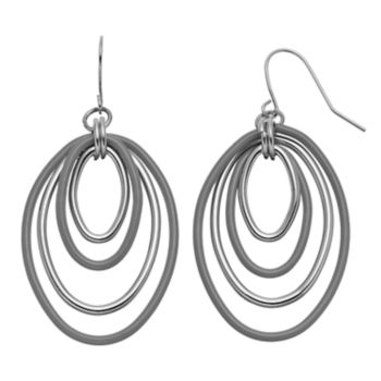 Gray Graduated Oval Nickel Free Drop Earrings