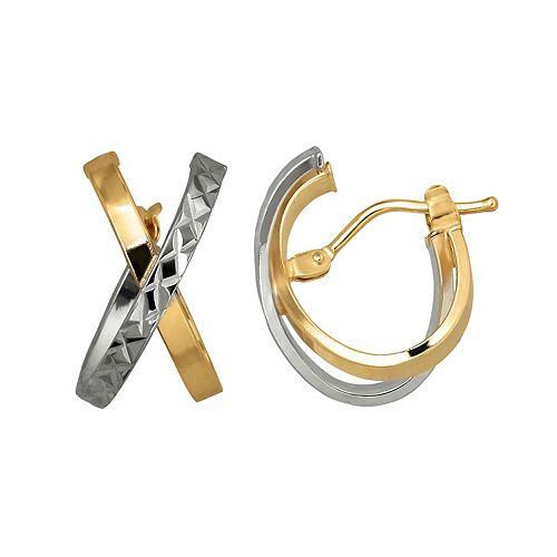 Everlasting Gold Two Tone 14k Gold Crisscross  Hoop Earrings
