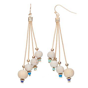 Wooden Bead Nickel Free Asymmetrical Drop Earrings