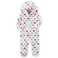Baby Girl Carter's Heart Hooded Microfleece Coverall