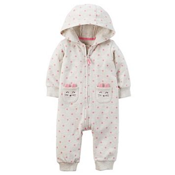 Baby Girl Carter's Hooded Polka-Dot French Terry Coverall