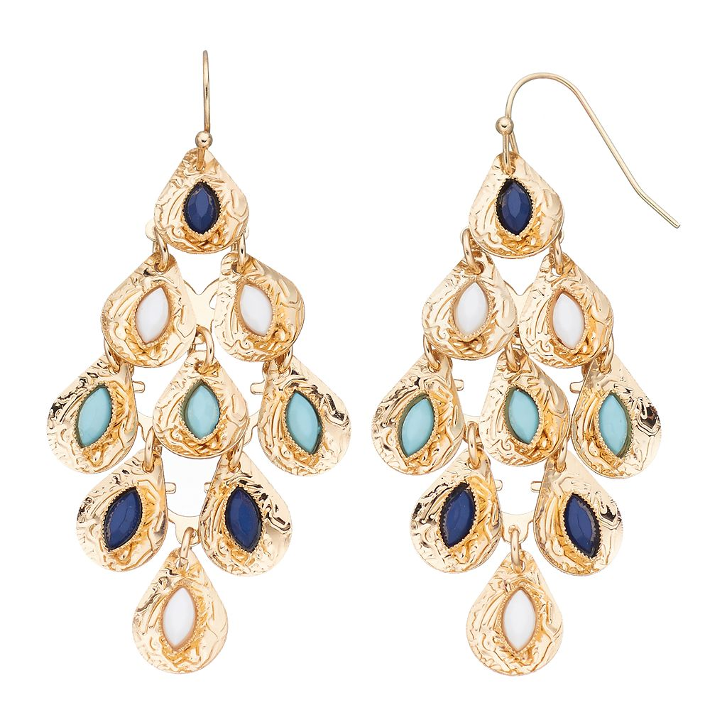 Blue Marquise Stone Nickel Free Kite Earrings