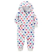 Baby Girl Carter's Glitter Heart Hooded Coverall