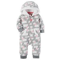 Baby Girl Carter's Dog Print Fleece Hooded Coverall