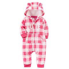 Baby Girl Carter's 'Cute' Pink Checkered Fleece Hooded Jumpsuit
