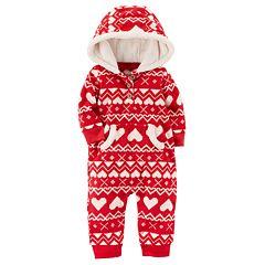 Baby Girl Carter's Heart Fleece Hooded Jumpsuit