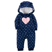 Baby Girl Carter's Heart Fairisle Fleece Hooded Jumpsuit