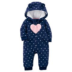 Baby Girl Carter's Heart Fairisle Fleece Hooded Jumpsuit