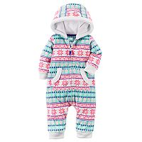 Baby Girl Carter's Fairisle Fleece Hooded Jumpsuit