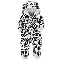 Baby Girl Carter's Tribal Fleece Hooded Jumpsuit