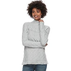 Women's SONOMA Goods for Life™ Fringe Cable-Knit Mockneck Sweater
