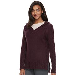 Women's SONOMA Goods for Life™ Cable Knit Hooded Sweater