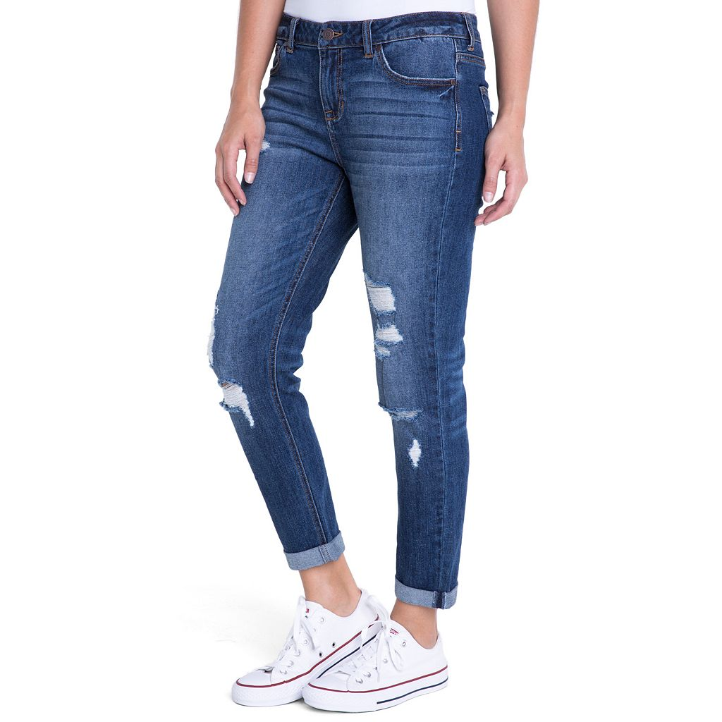 Juniors' Crave Ripped Slim Girlfriend Jeans