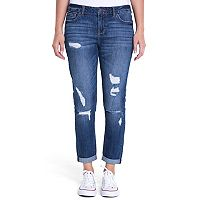 Juniors' Crave Ripped Slim Girlfriend Jeans