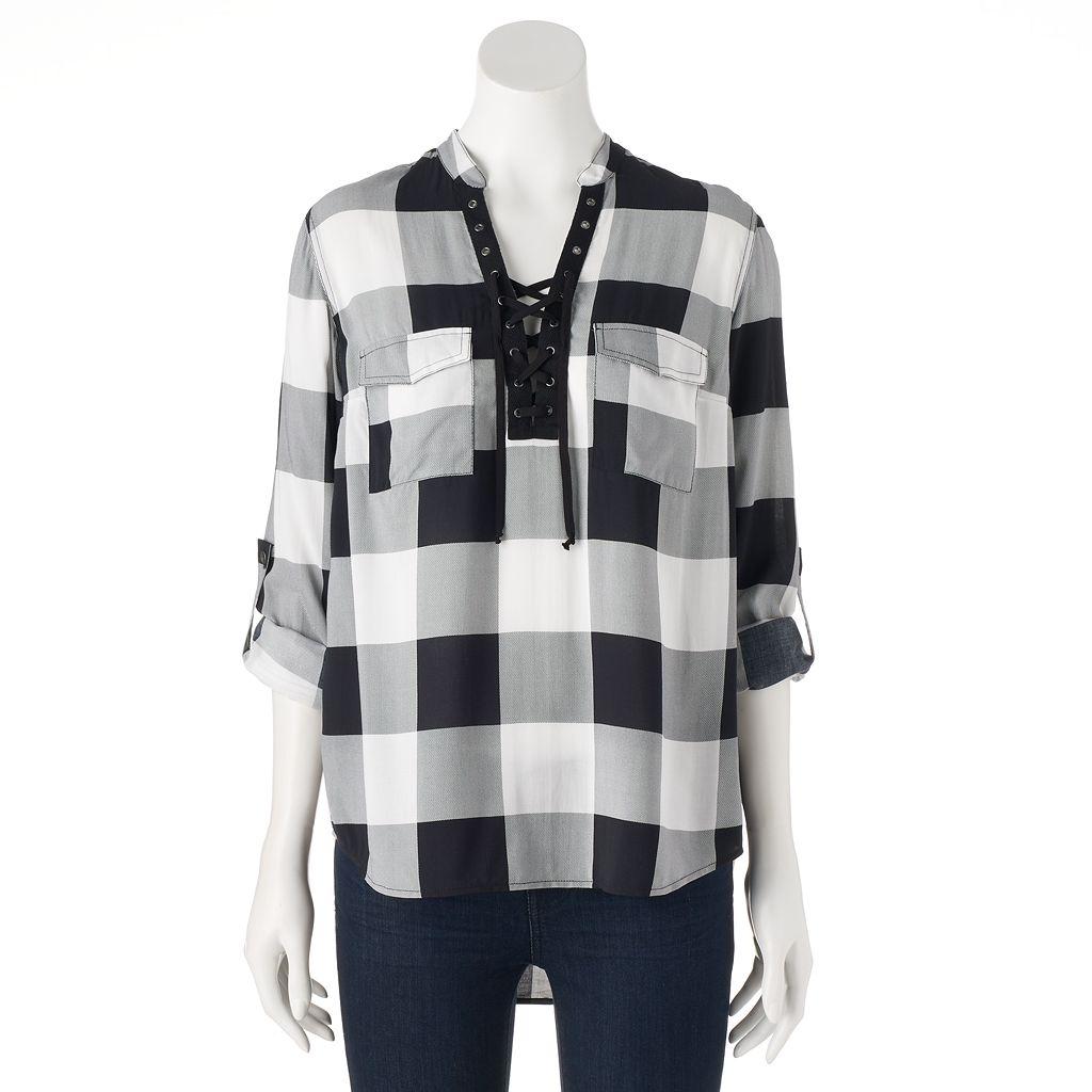 Women's Rock & Republic® Lace-Up Plaid Shirt