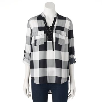 Women's Rock & Republic® Lace-Up Plaid Shirt